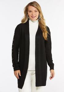 Plus Size Pearl Embellished Cardigan Sweater
