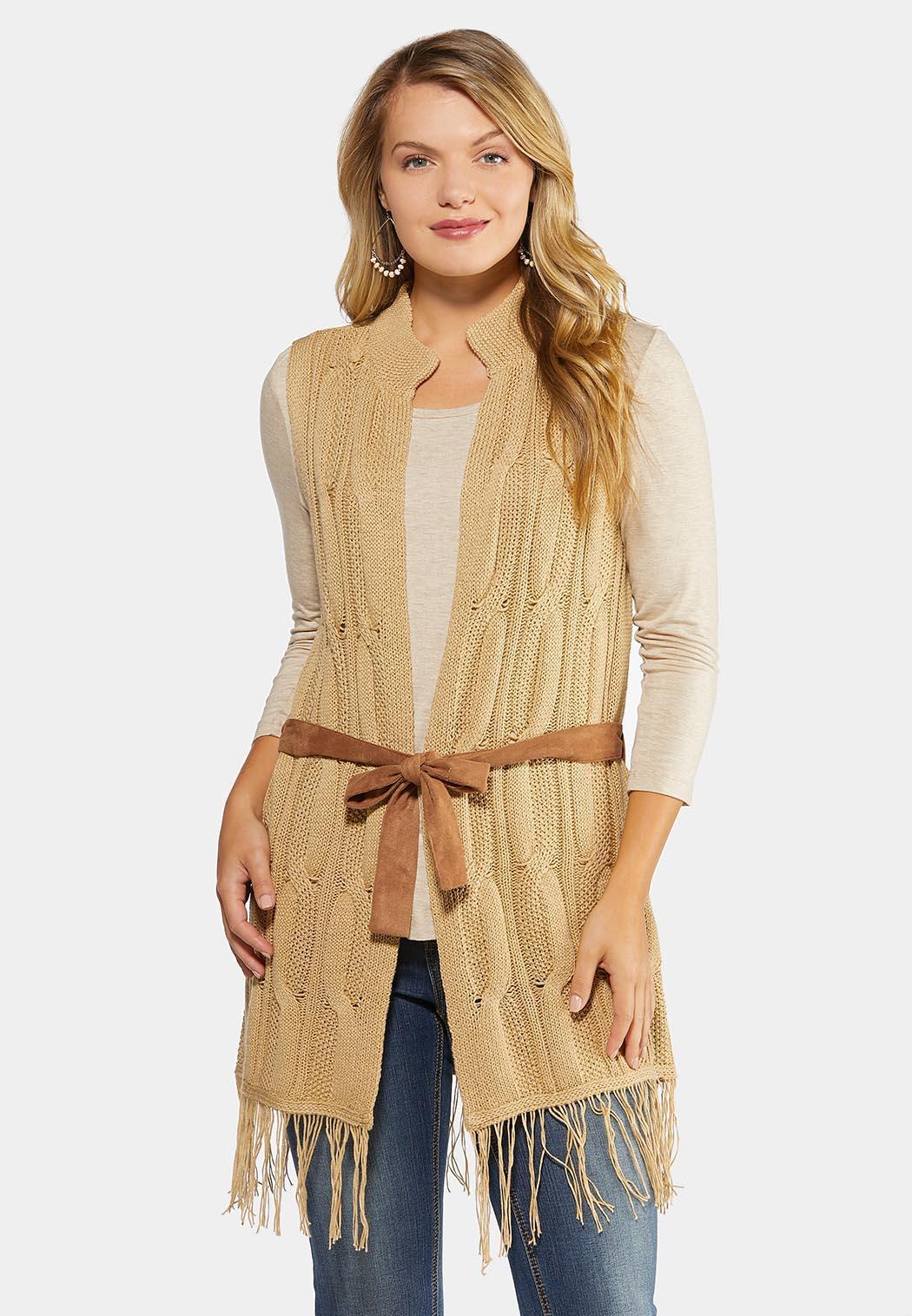 Belted Fringe Sweater Vest
