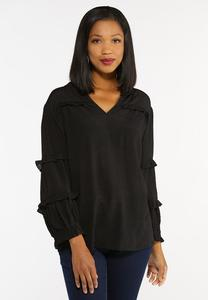 Plus Size Ruffled Trim Top