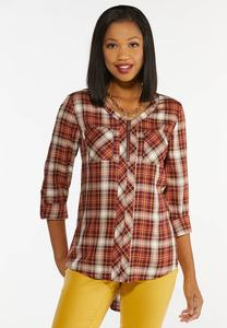 Plus Size Plaid Zip Top