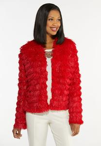Plus Size Tiered Tassel Jacket