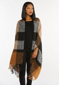 Brushed Plaid Fringe Wrap