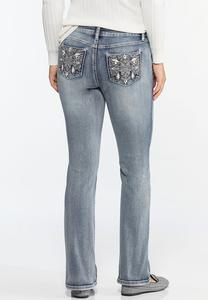 Petite Embellished Bootcut Jeans