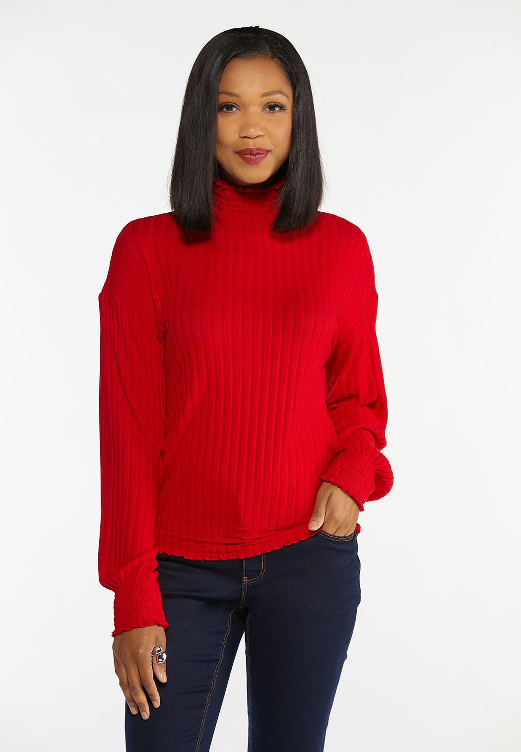 Plus Size Ribbed Mock Neck Top