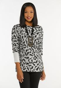 Shimmery Leopard Tunic Sweater