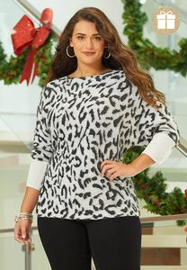 Plus Size Shimmery Leopard Tunic Sweater