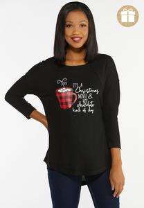 Plus Size Hot Chocolate Holiday Waffle Top