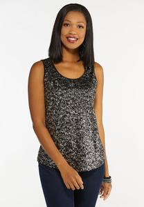 Plus Size Silver Sequin Tank