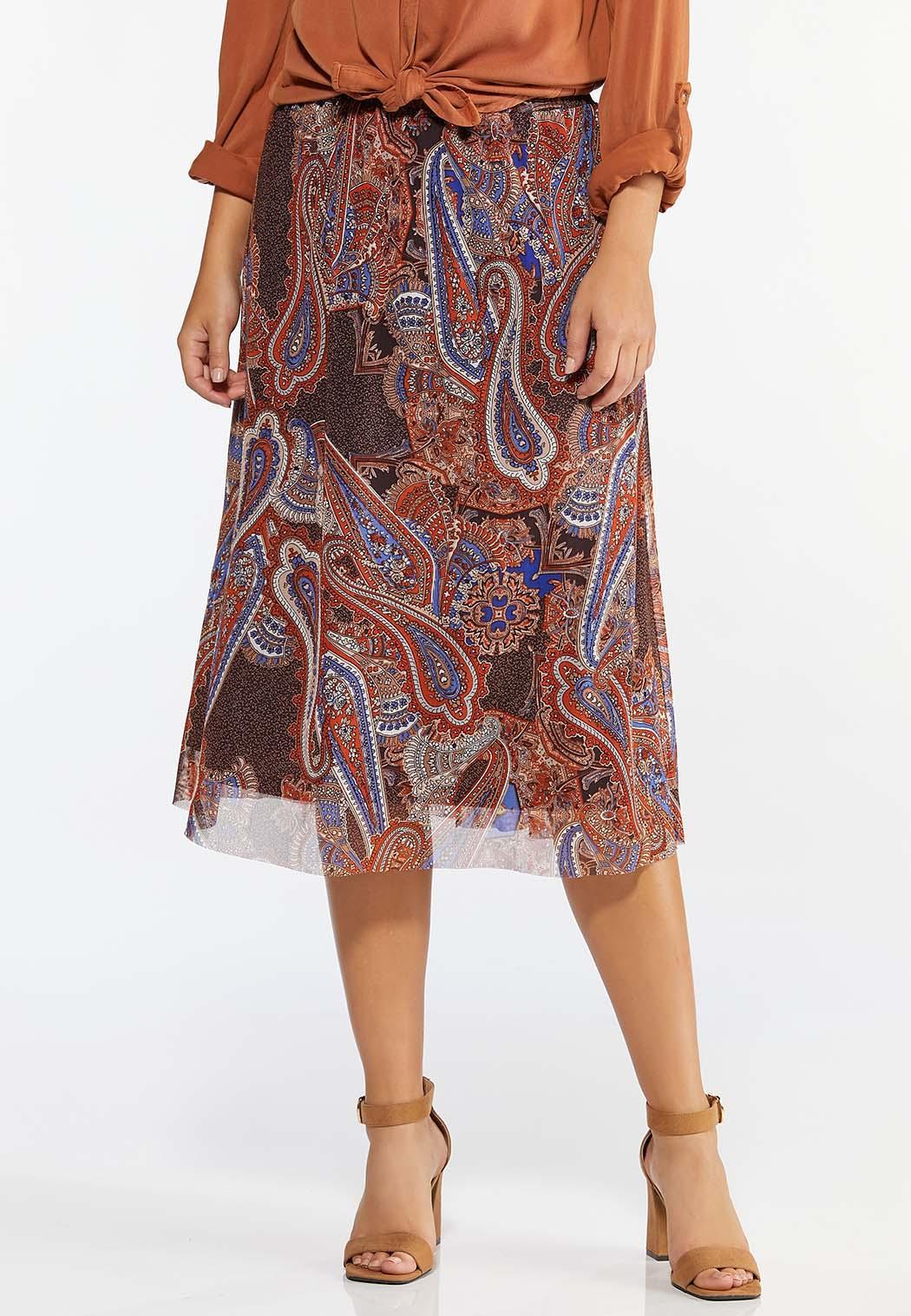 Plus Size Paisley Mesh Skirt