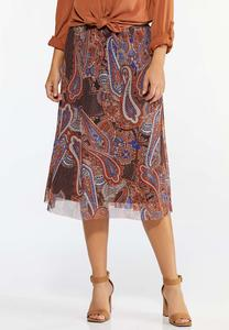 Plus Size Paisley Mesh Skirt