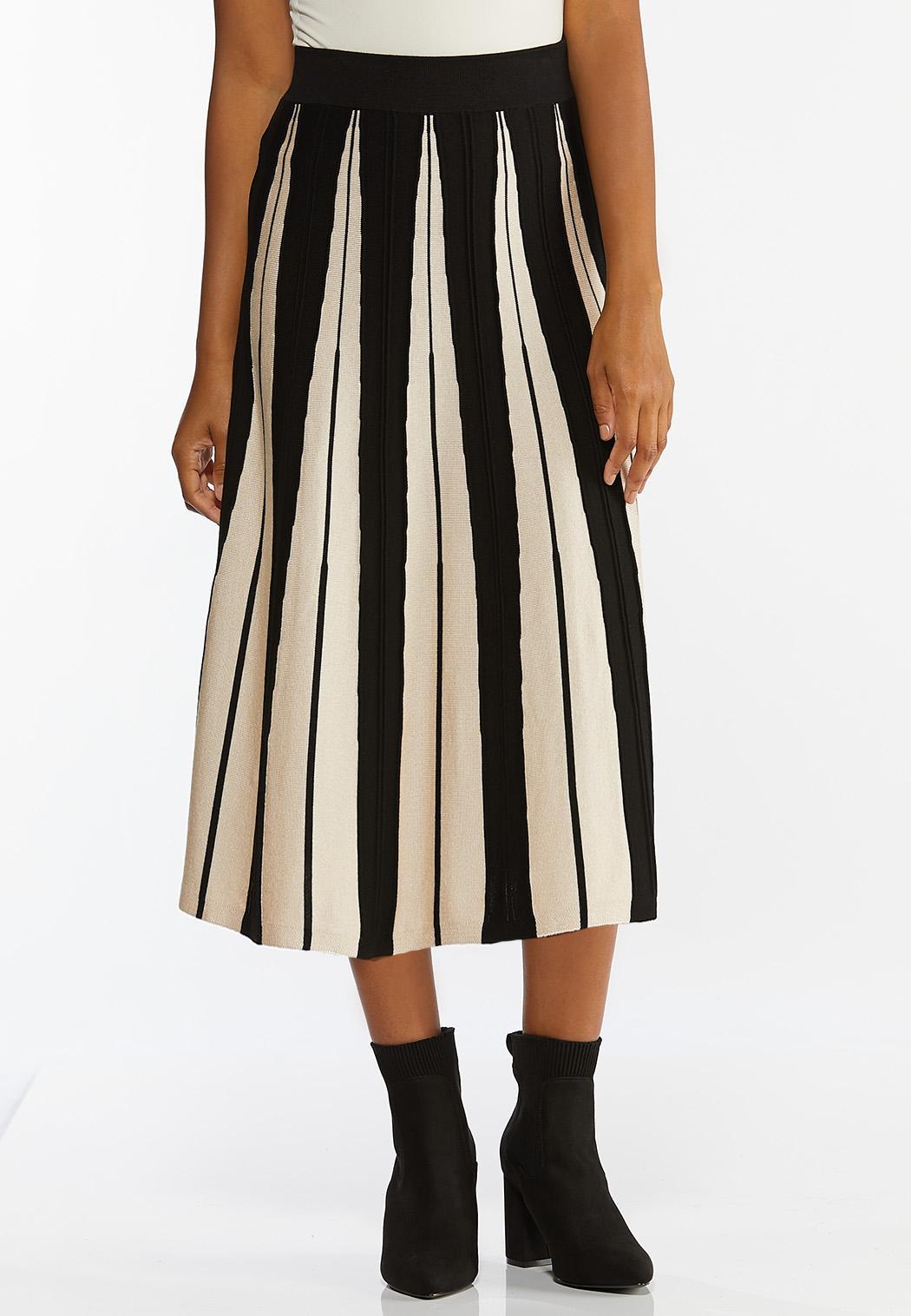 Plus Size Contrast Stripe Sweater Skirt