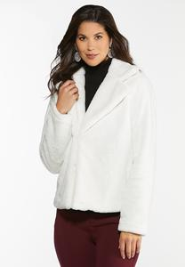 Plus Size Furry Ivory Coat