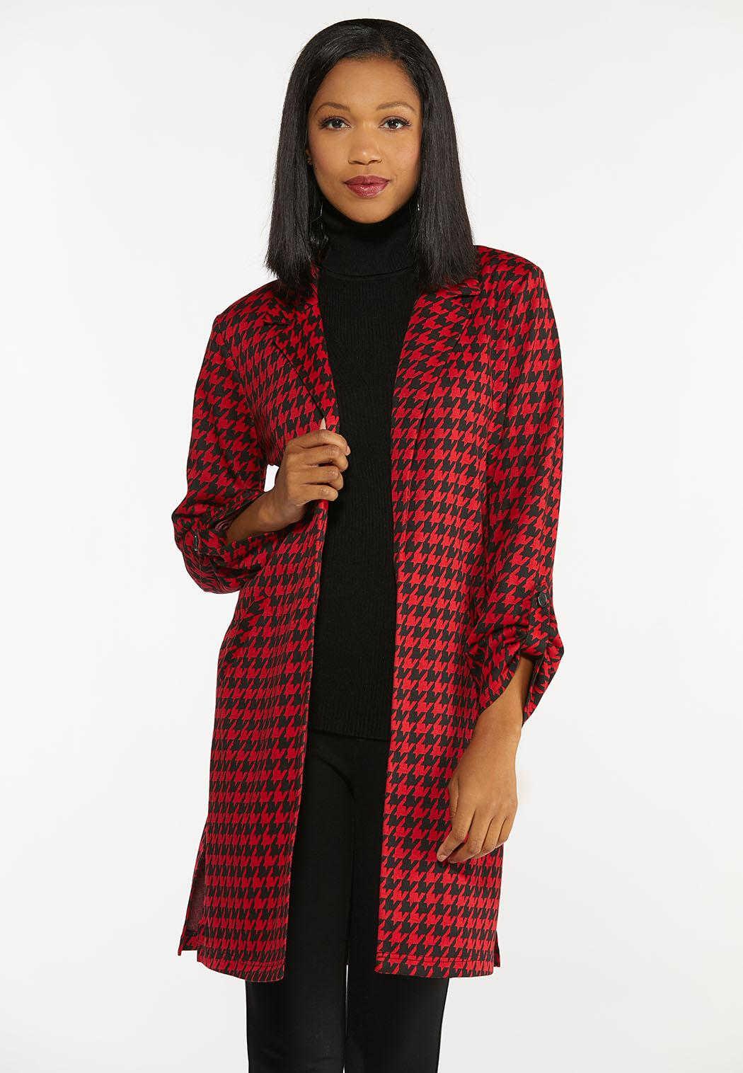 Plus Size Red Houndstooth Jacket