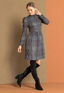 Plus Size Plaid Hacci Babydoll Dress