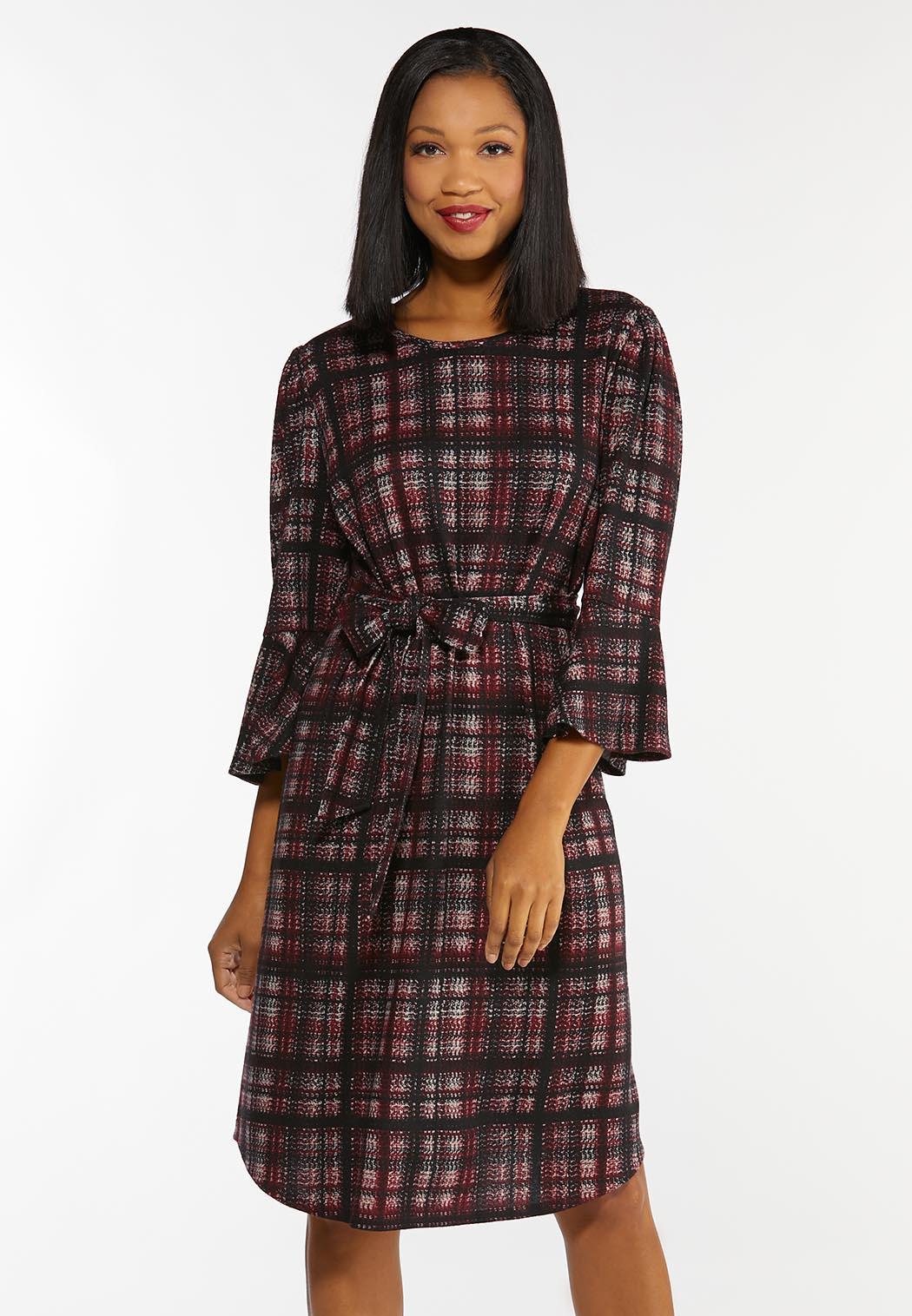 Plus Size Plaid Tie Waist Dress