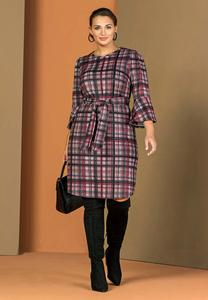 Plus Size Plaid Tie Waist Dress
