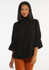 Ruffled Mock Neck Poet Top