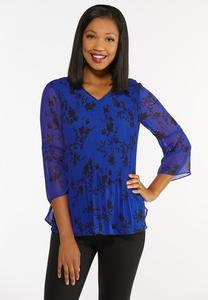 Blue Pleated Floral Top