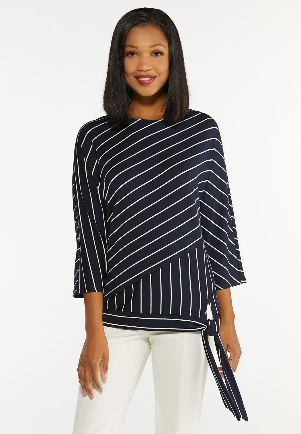 Plus Size Striped Tie Waist Top