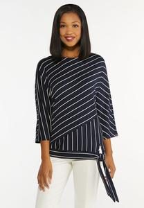 Plus Size Striped Tie Waist Top