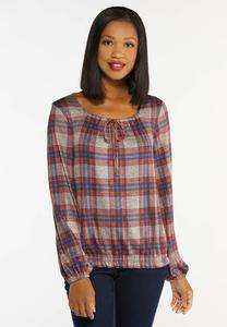 Plus Size Plaid Smocked Waist Top
