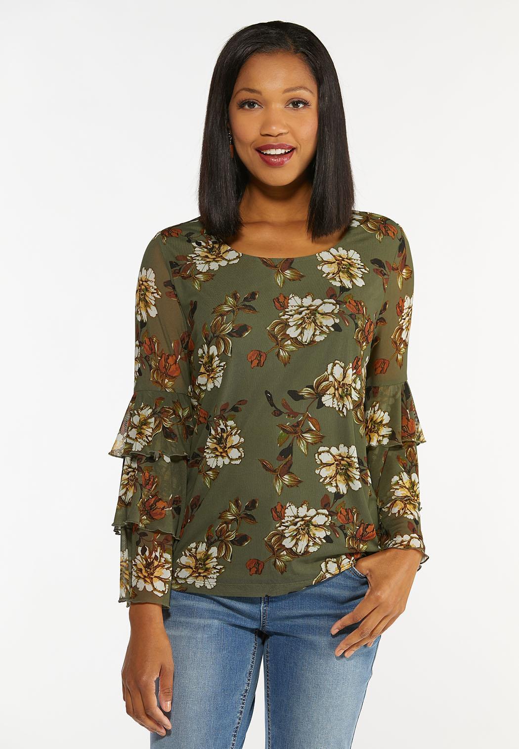 Plus Size Olive Mesh Floral Top