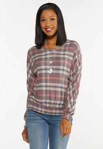 Plus Size Rose Plaid Waffle Top