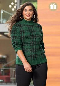 Plus Size Green Plaid Sweater