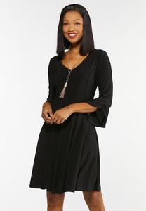 Plus Size Seamed Triple Ruffled Dress