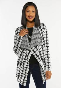 Plus Size Houndstooth Waterfall Cardigan Sweater