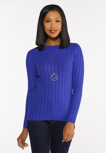 Plus Size Blue Ribbed Sweater
