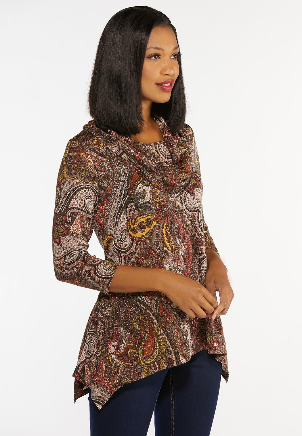 Sparkly Chestnut Paisley Top