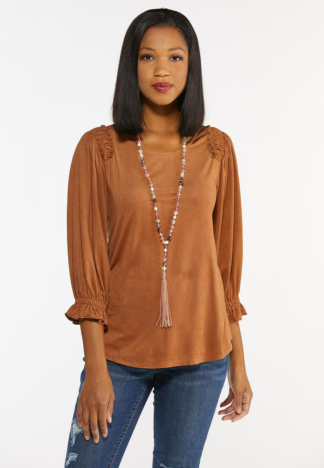 Plus Size Faux Suede Ruffled Top