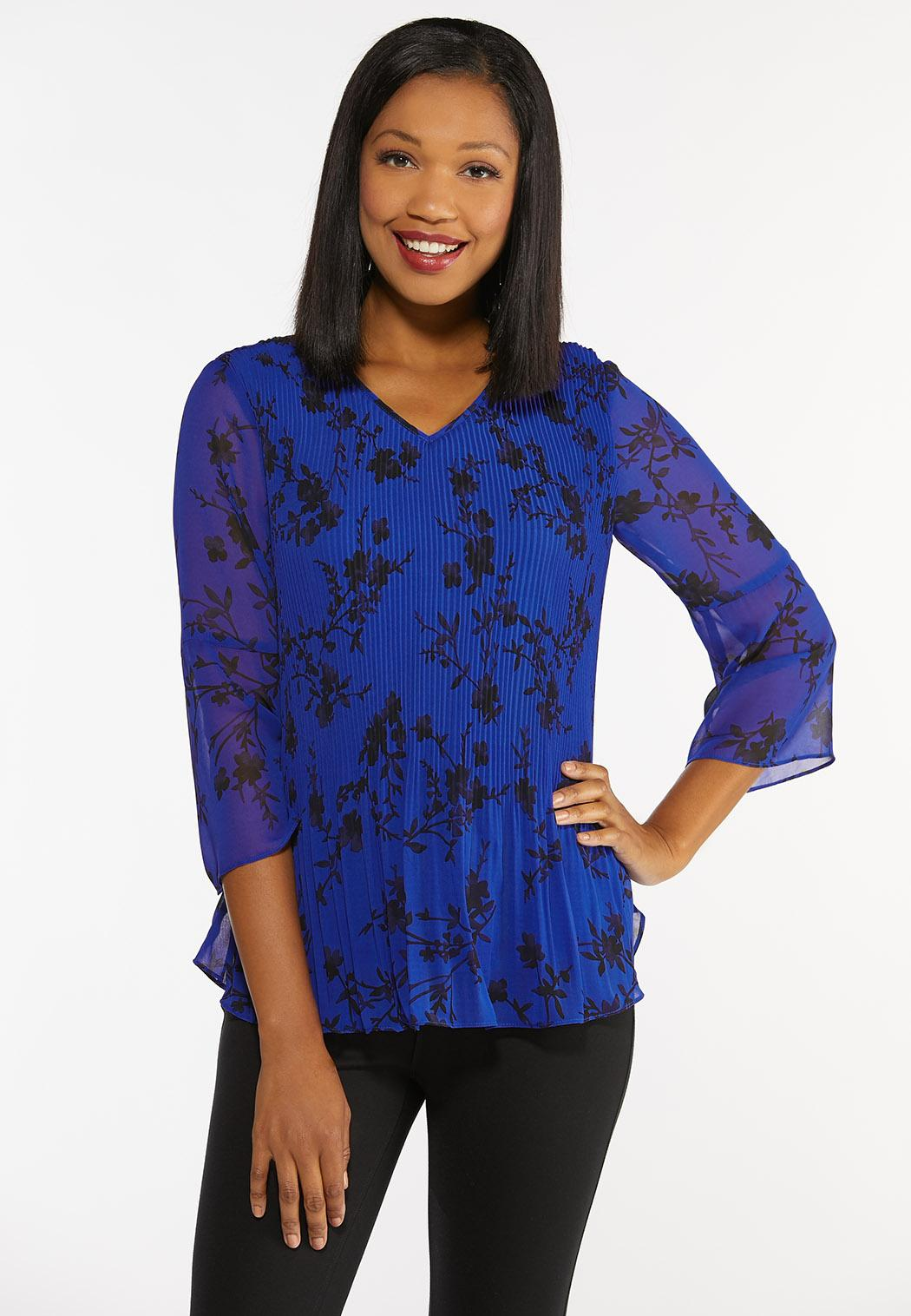 Plus Size Blue Pleated Floral Top