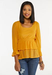 Ruffled Mesh Peplum Top