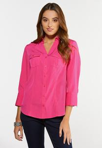 Plus Size Stretch Button Down Shirt