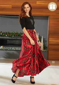 Plus Size Noel Plaid Maxi Skirt