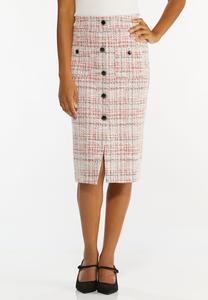 Red Boucle Pencil Skirt