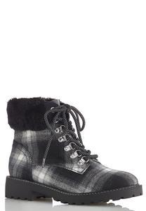 Fur Cuff Plaid Boots