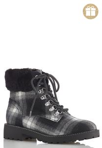 Fur Cuff Plaid Boots