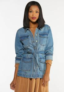 Plus Size Belted Denim Jacket