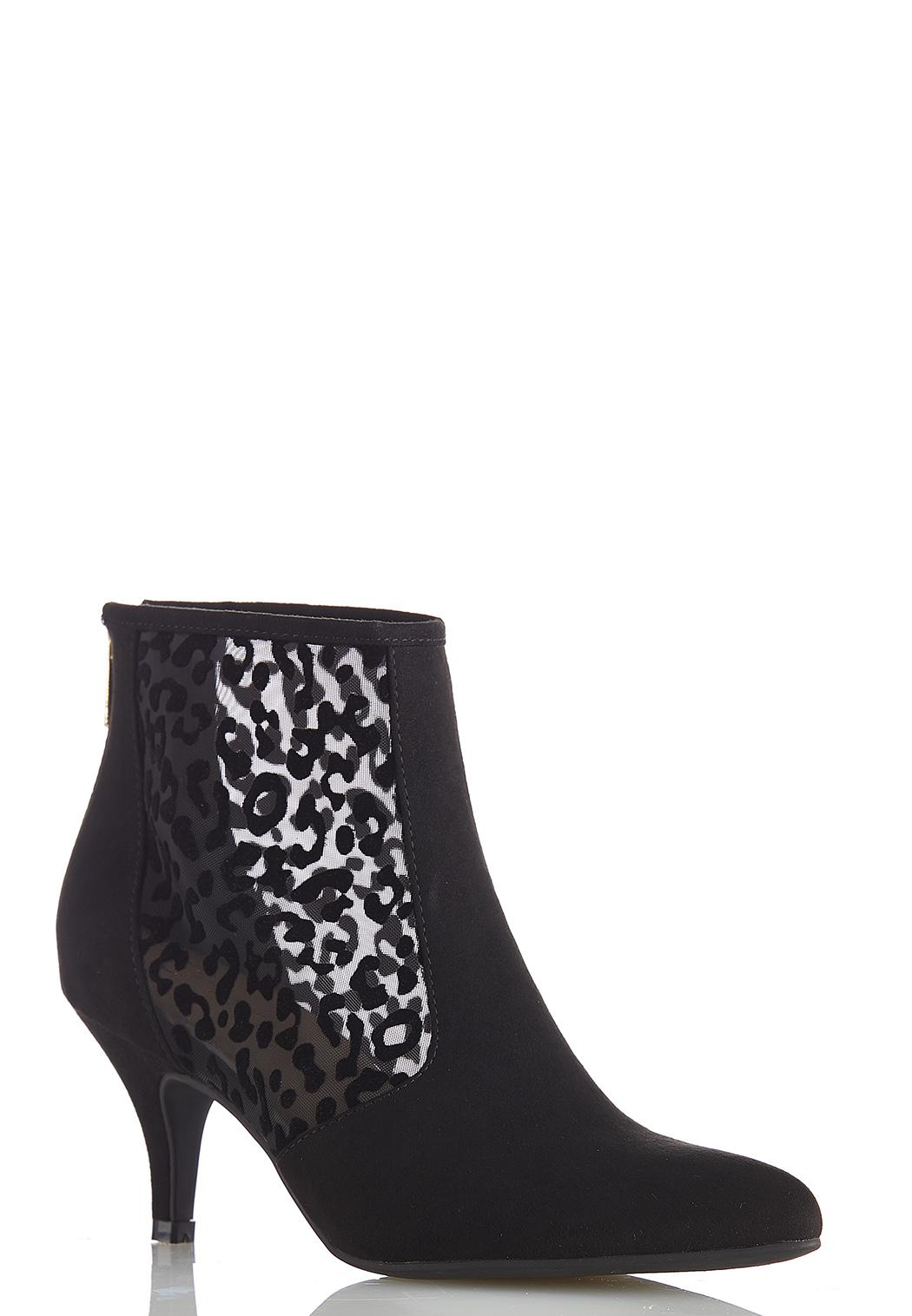 Leopard Mesh Booties Booties Cato Fashions