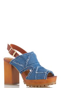 Frayed Denim Platform Sandals