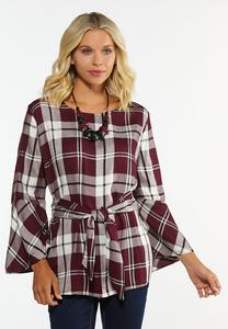 Plus Size Plaid Tie Front Top
