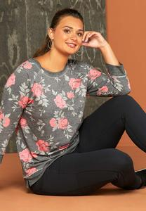 Plus Size Cozy Floral Pullover Top