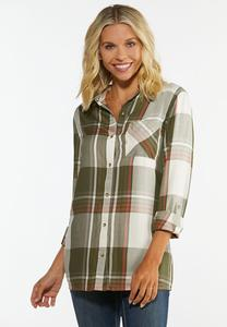 Plus Size Green Plaid Tunic