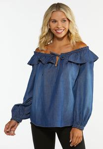 Plus Size Convertible Chambray Poet Top