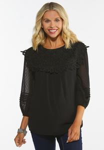 Plus Size Lacy Textured Dot Top