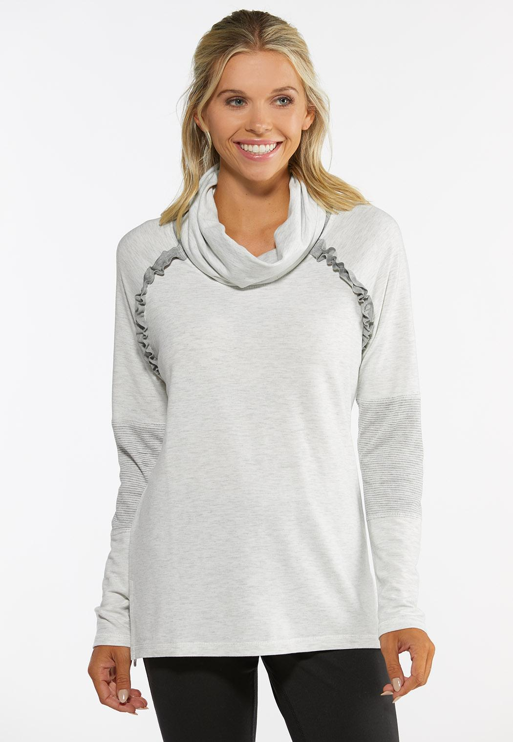 Ruffled Cowlneck Athleisure Top