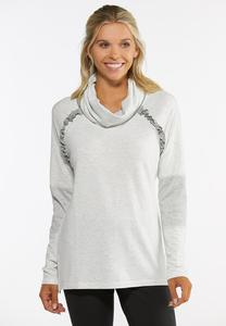 Plus Size Ruffled Cowlneck Athleisure Top